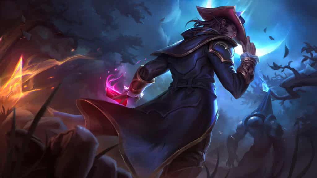 Twisted Fate holding his hat and cards