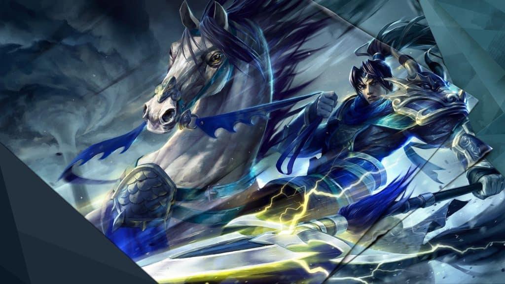 Warring Kingdoms Xin Zhao riding a white horse