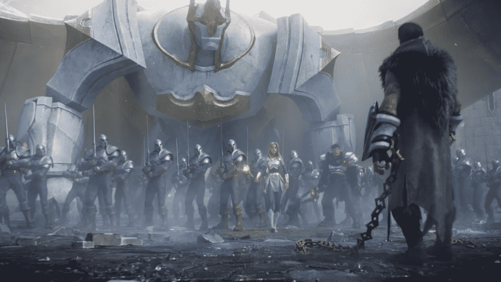 Galio shielding the Demacian army from the Freljord