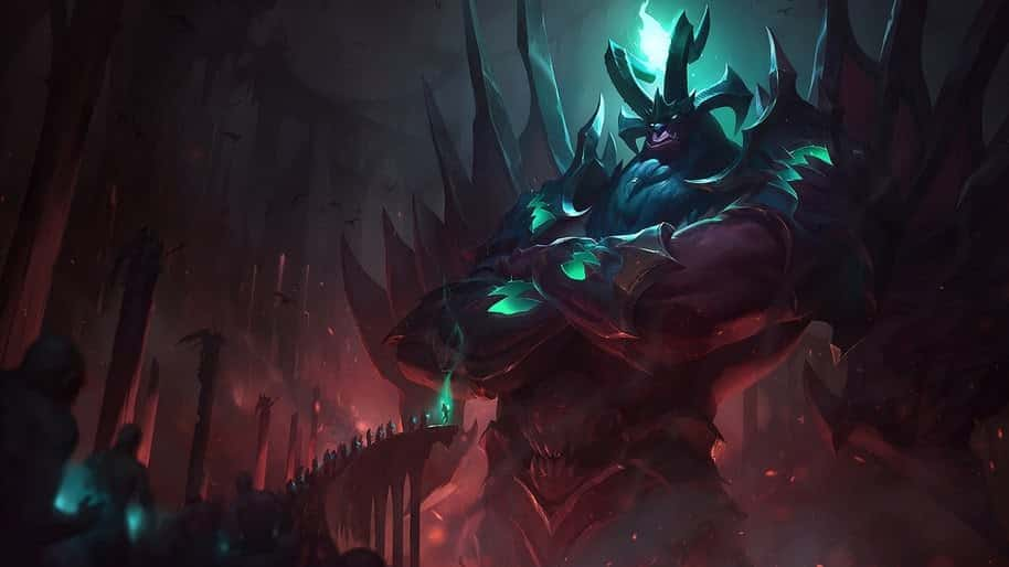 A demonic looking Galio protecting an evil gate