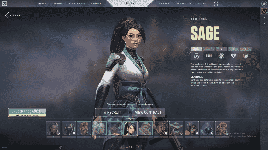 Sage's character description in the agent screen | Sage Guide