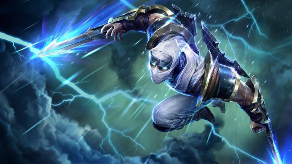 Zed with lightning blades surrounded by a storm