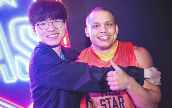 T1 Faker hugging Tyler1 in front of the camera
