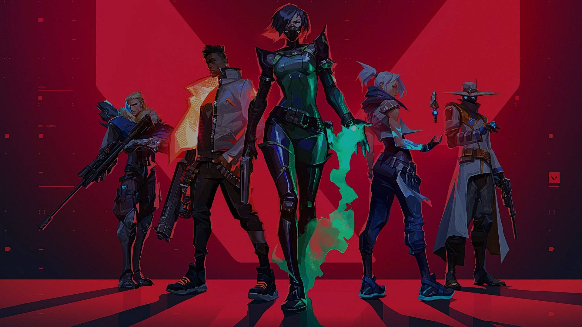 The initial 5 members of Valorant Agents from left to right: Sova, Phoenix, Viper, Jett, Cypher