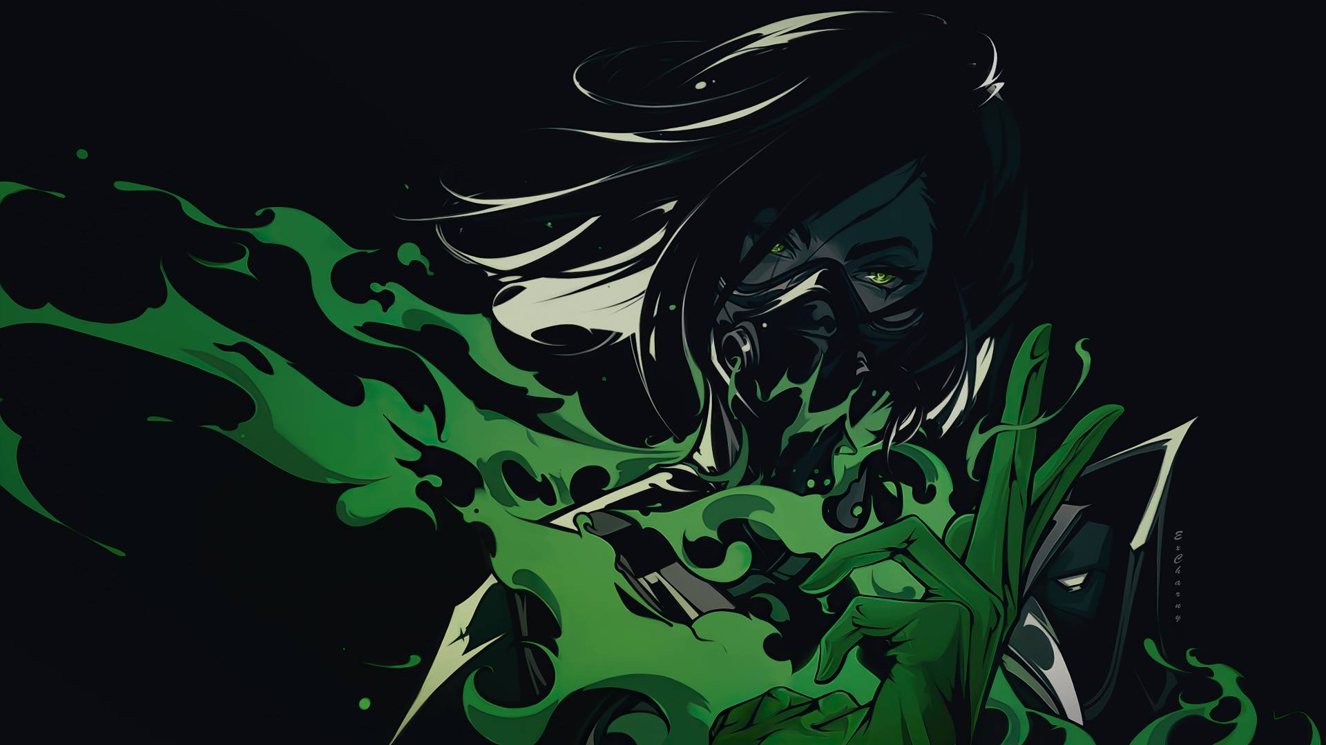 Valorant Rendered Illustrations featuring Viper with Green Toxic Aura