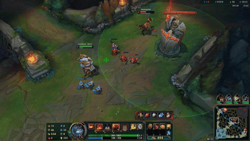 Playing against bots in LoL