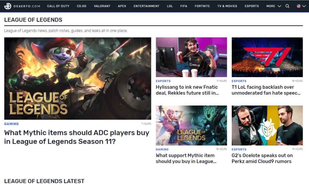 Dexerto League of Legends Homepage - Esports Sites