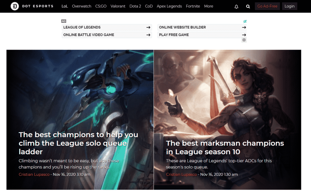 Dot Esports League of Legends Homepage - Esports Sites
