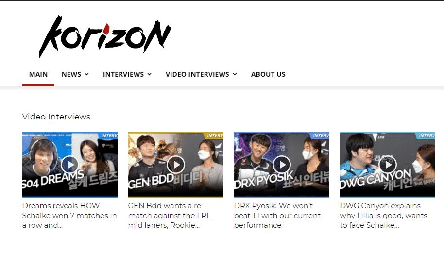Korizon Esports League of Legends Homepage - Esports Sites