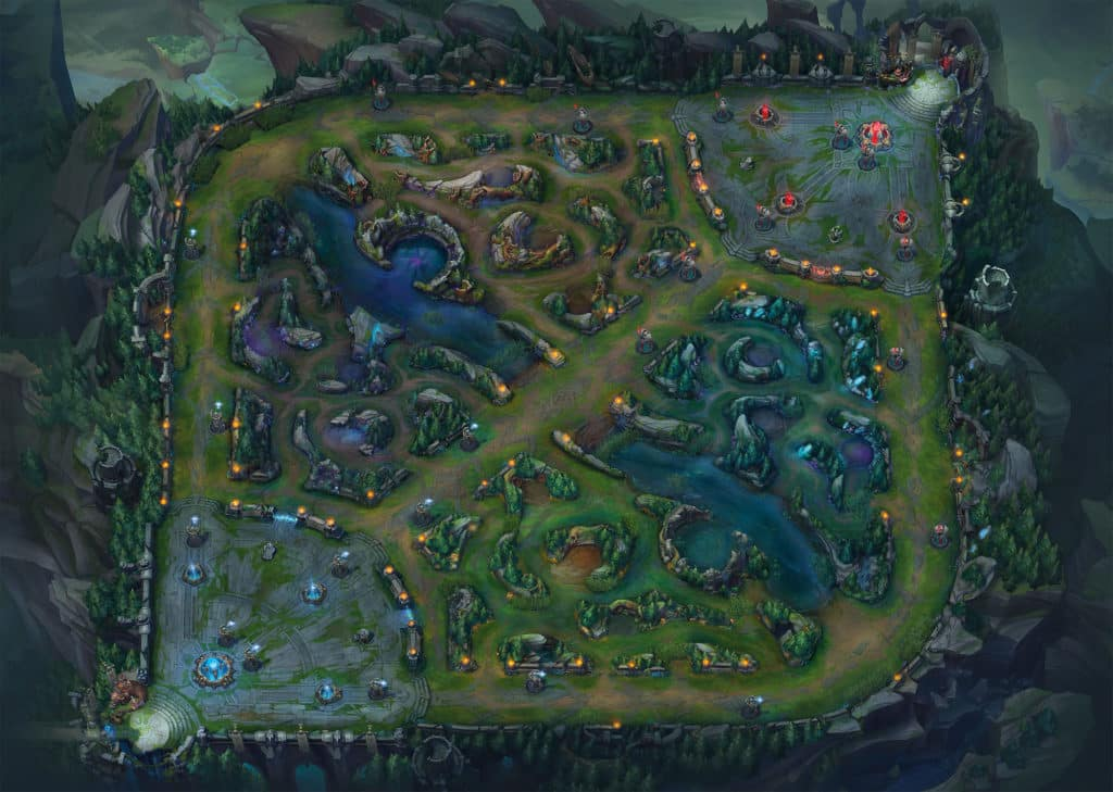 Overview of Summoner's Rift Map