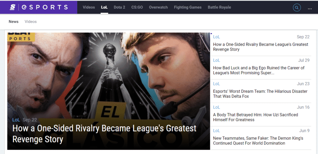 TheScore Esports League of Legends Homepage - Esports Site
