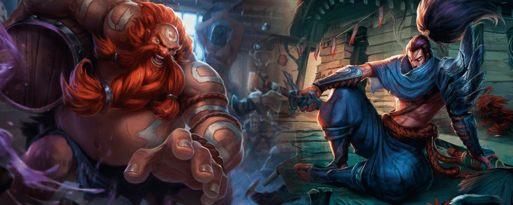 Gragas and Yasuo side by side images