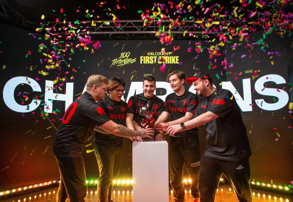 100 Thieves about to lift the First Strike Trophy