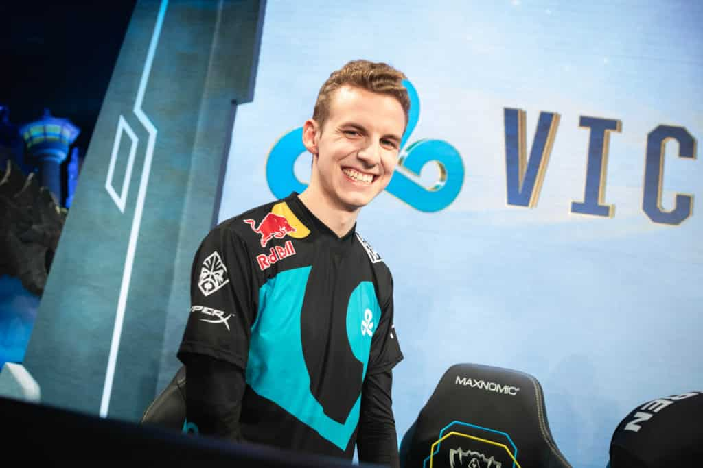 C9 Licorice standing and smiling after the game