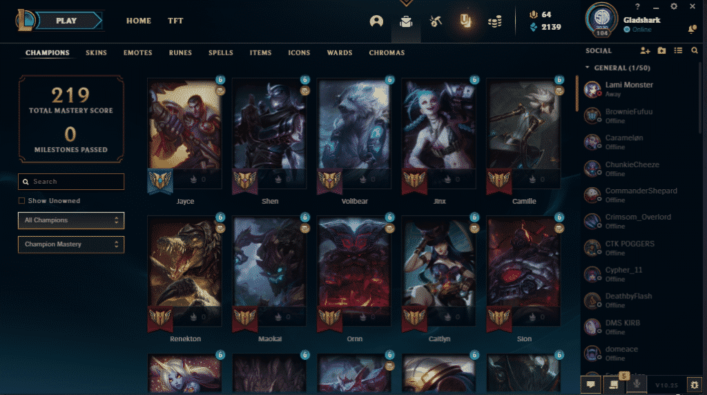 Champions ranked according to mastery level and mastery points