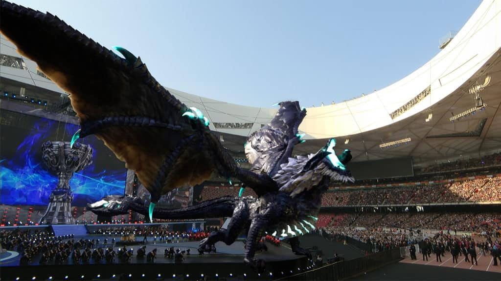 Elder Drake projected over the Worlds 2017 arena