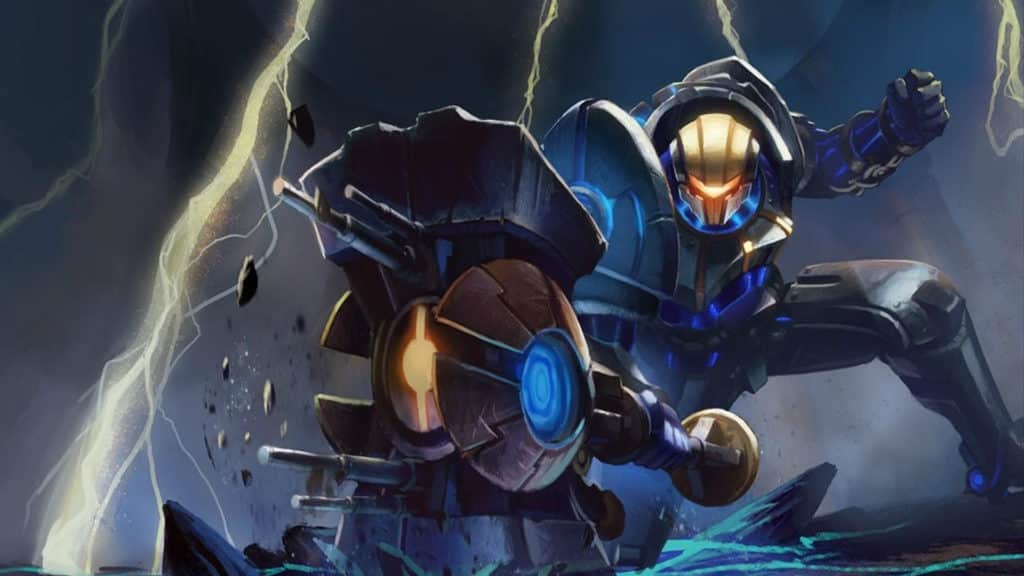 Jayce in a fullmetal suit surrounding by electricity