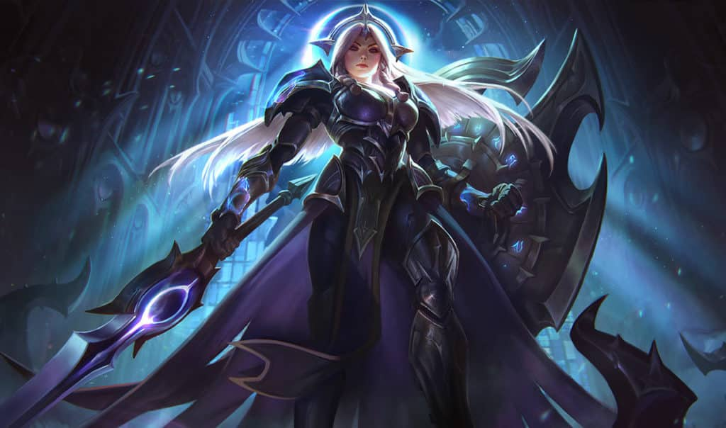 Leona wearing dark armor and has white hair | Support Guide