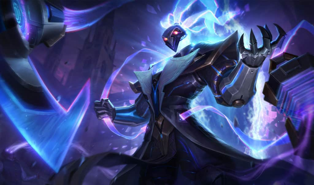 Thresh with a spirit made up of blue fire