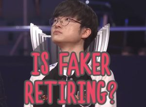 Faker looking up with tears in his eyes | Faker retirement banner