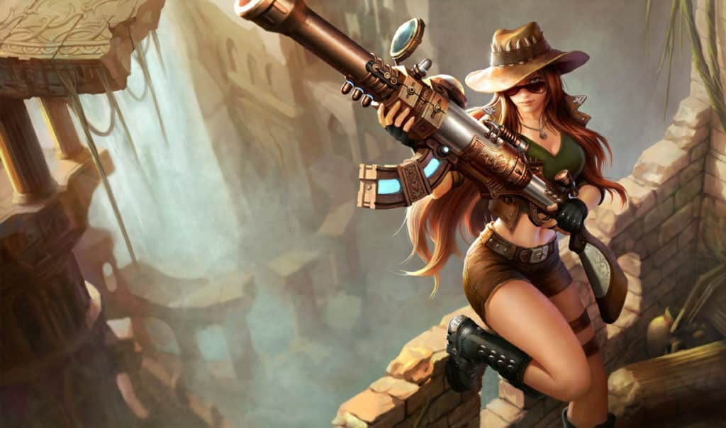 Caitlyn wearing a safari outfit and gun