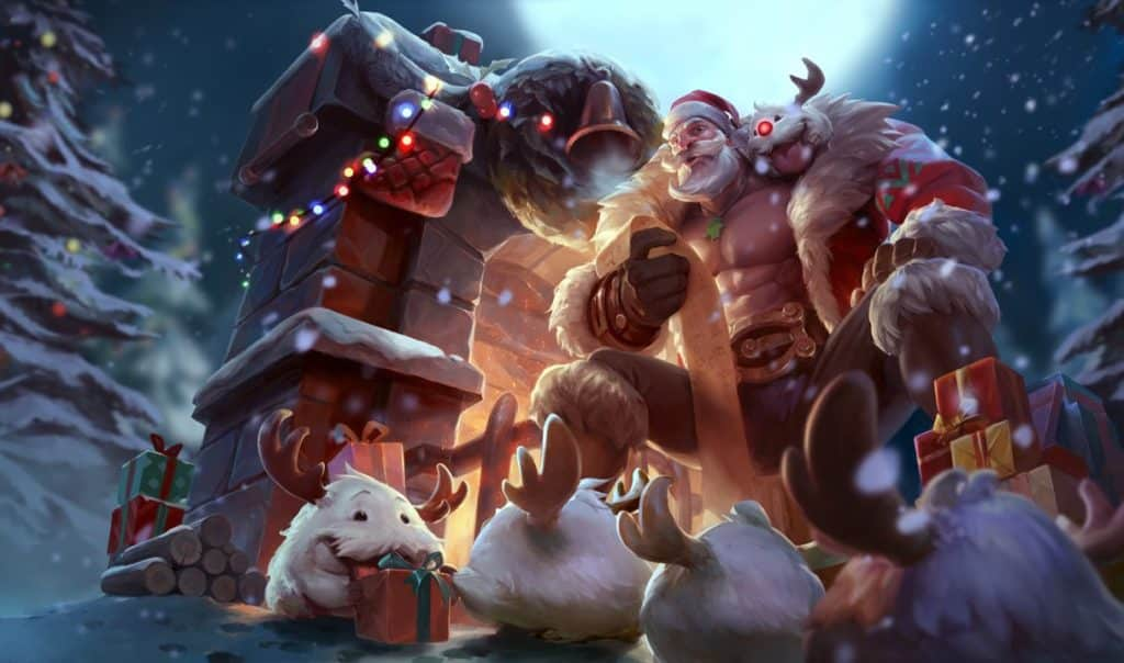 Braum wearing a santa clause outfit