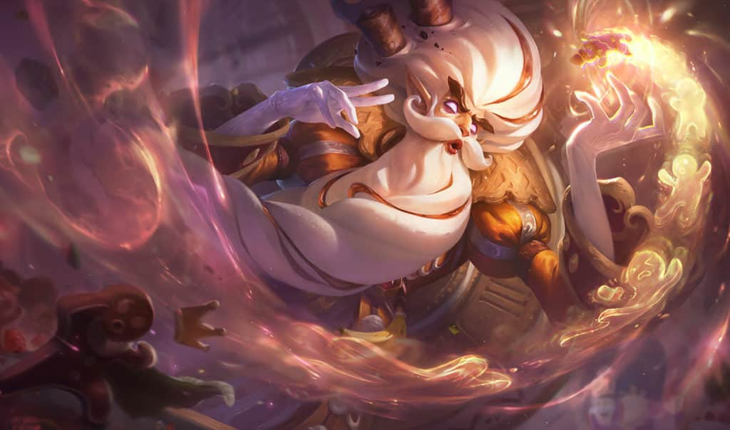 Zilean on top of cotton candy holding a gingerbread man