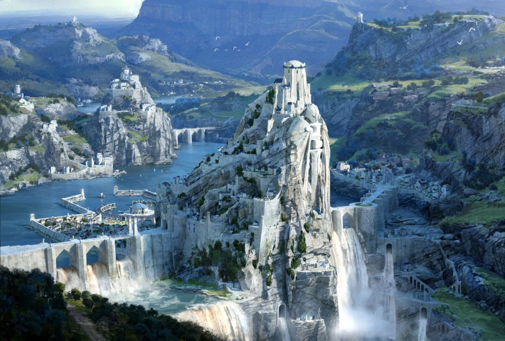 The city of Demacia located at the edge of a giant waterfall