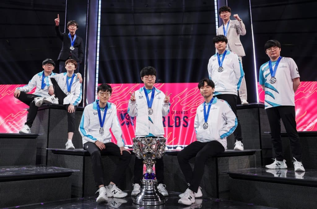 Damwon Gaming wearing their medals after winning worlds