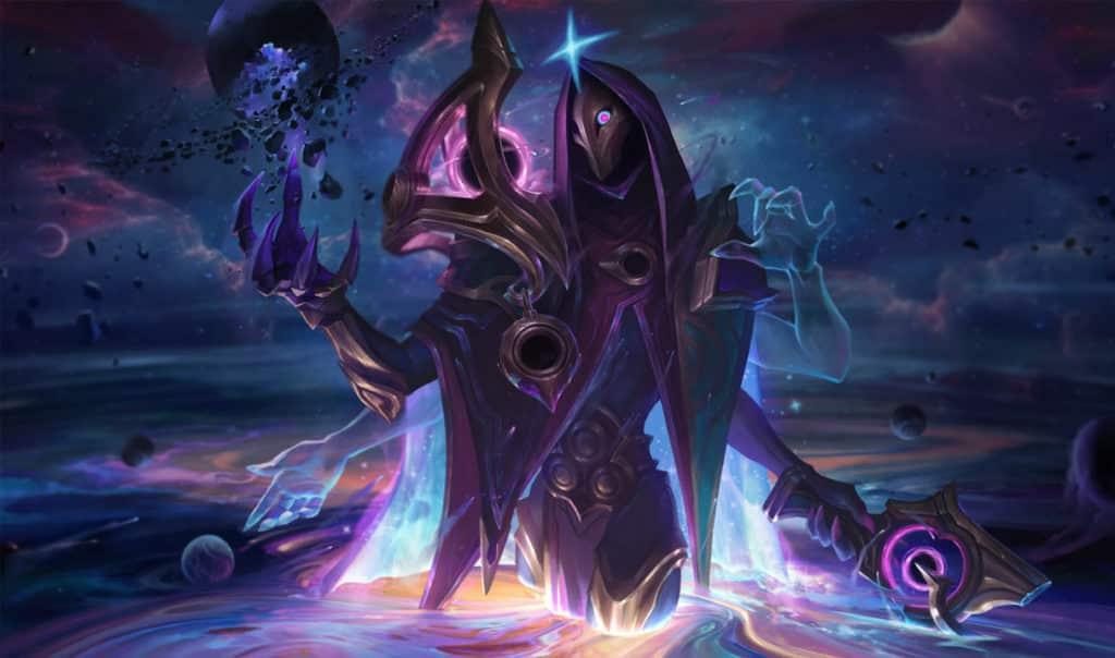 Jhin wearing a dark cosmic skin