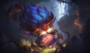 Heimerdinger holding a baby dragon in his hands | LoL Season Banner