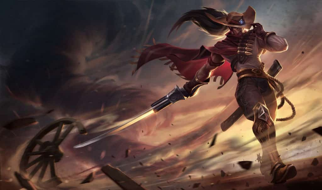 Yasuo wearing old American western-themed costume