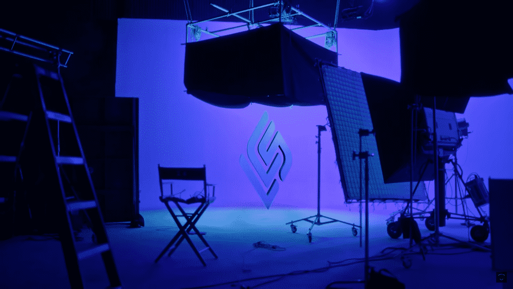 LCS Studio illuminated in purple light with the brand new LCS logo