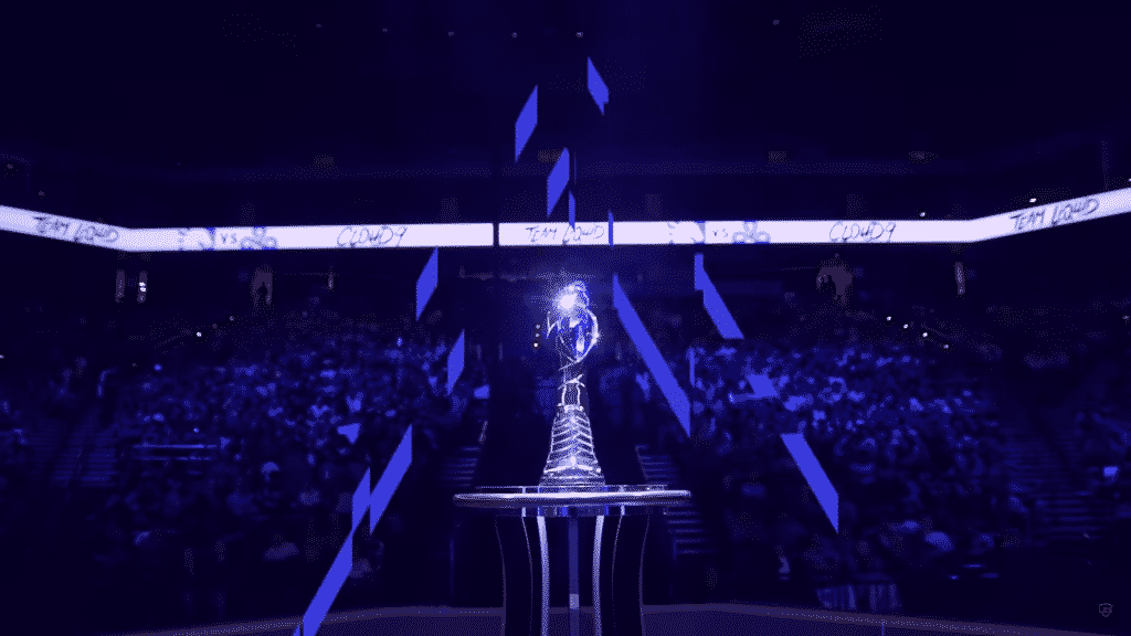 The LCS 2021 trophy on top of the pedestal