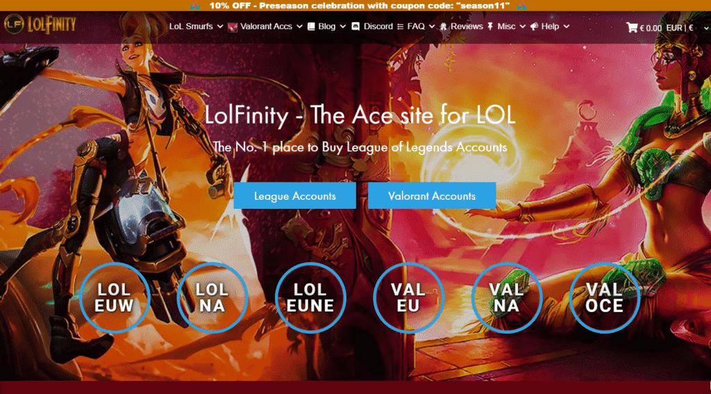 LolFinity Website Homepage