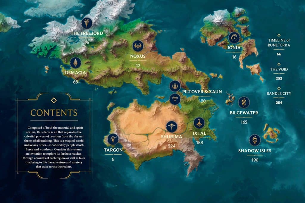 Runeterra map with indicators of the major city | league of legends mmorpg