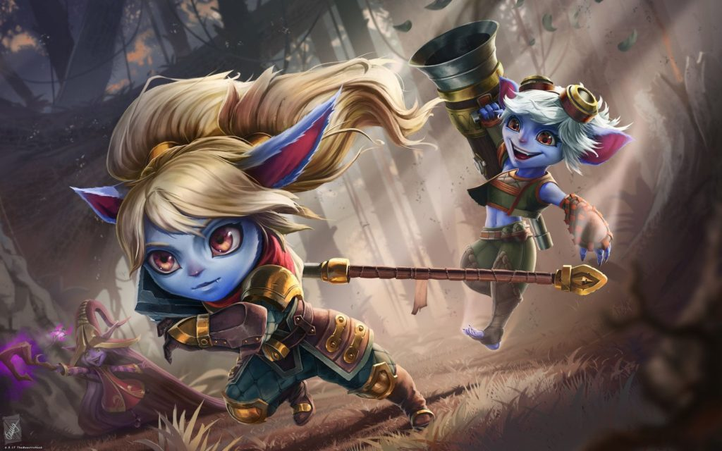 Poppy and Tristana charging forward with their weapons
