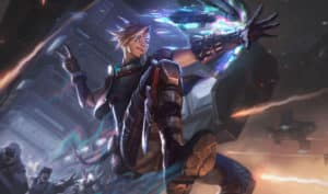 Ezreal wearing a cyberpunk outfit