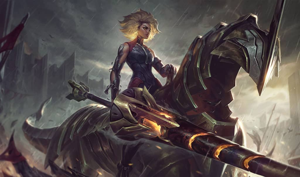 edgy looking teenage girl with an iron lance riding an iron horse