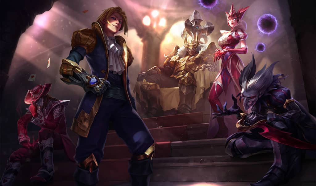 Twisted Fate, Ezreal, Mordekaiser, Syndra, and Shaco wearing card themed skins