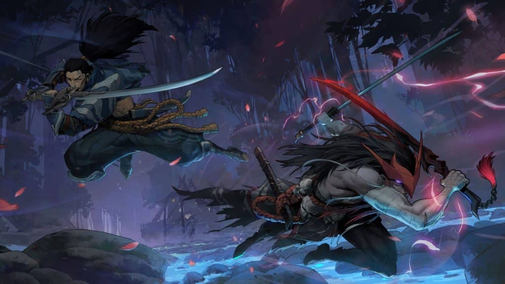 Yasuo and Yone clashing in the Spirit Blosson League of Legends Cinematic