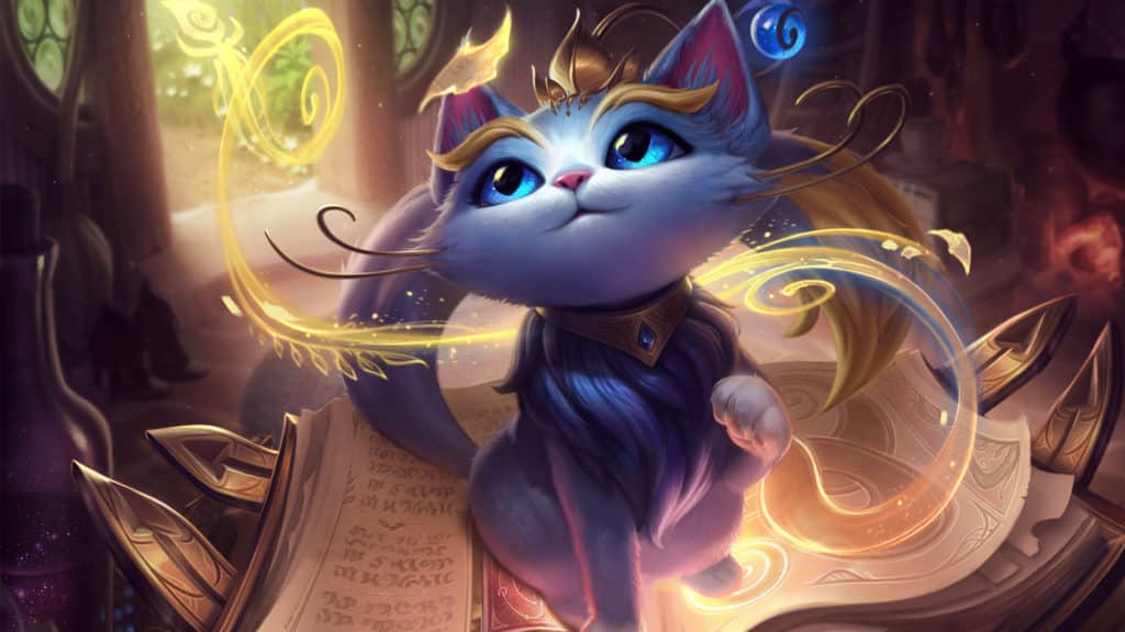 Yuumi's default skin, a magical cat on a book