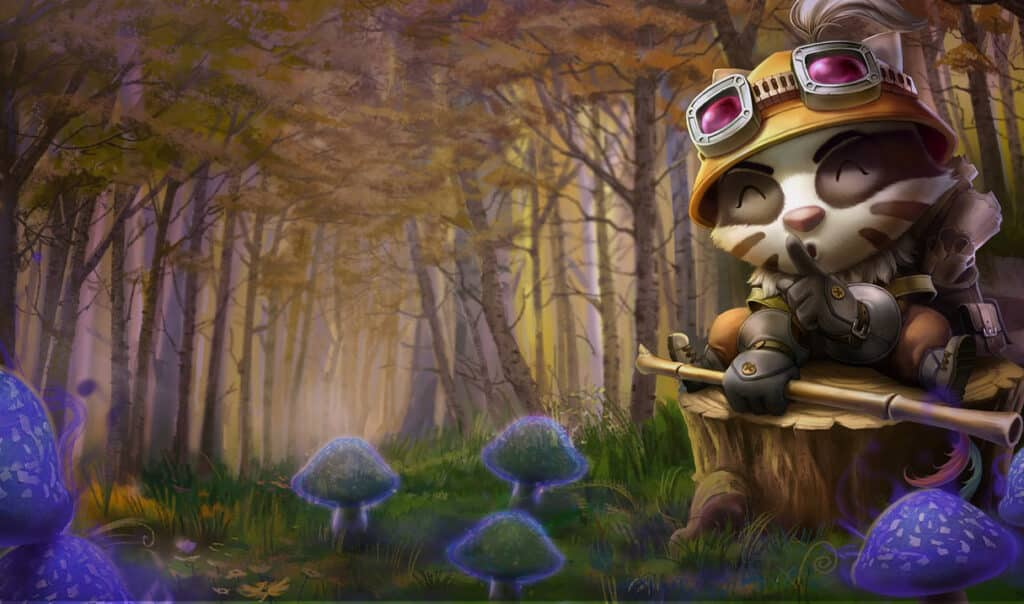 Teemo dressed up in camouflage