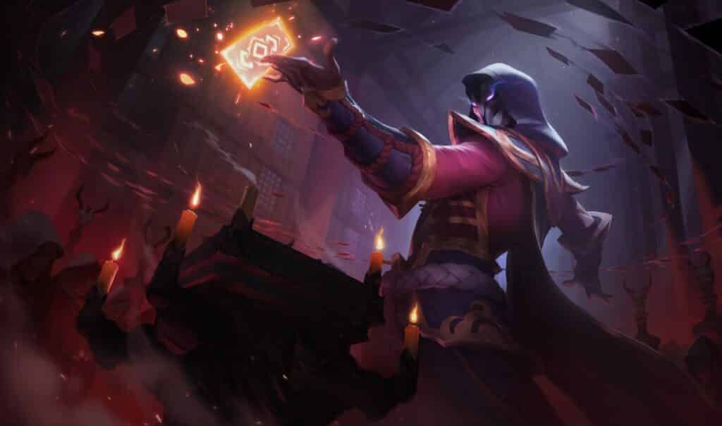 Twisted Fate wearing a cultist outfit and holding a gold card - Mid Lane Guide