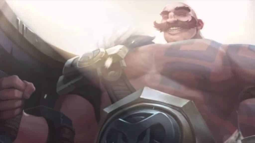 Braum radiating happiness and giving off a big smile