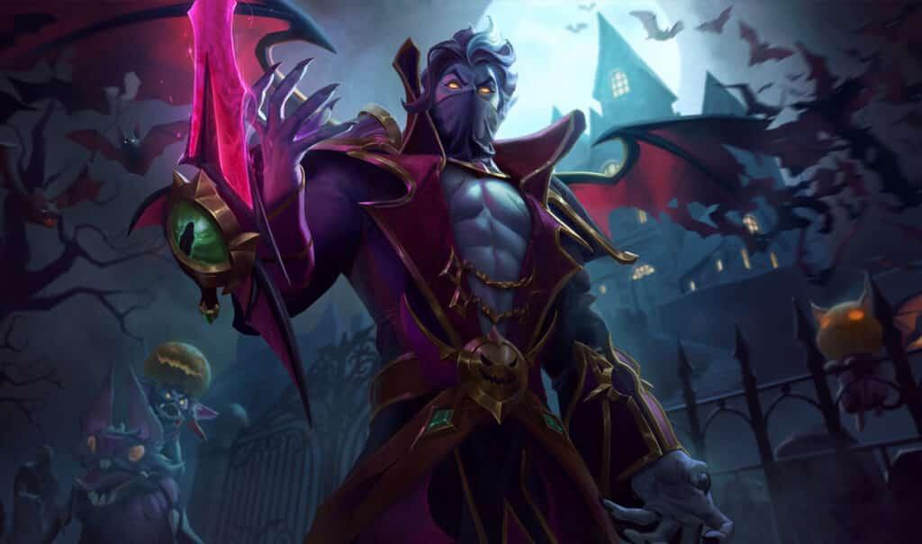 Kassadin wearing vampiric costume and a sanguine blade