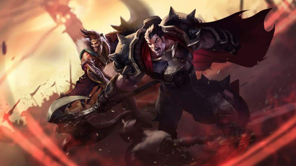 Draven and Darius fighting side by side as brothers