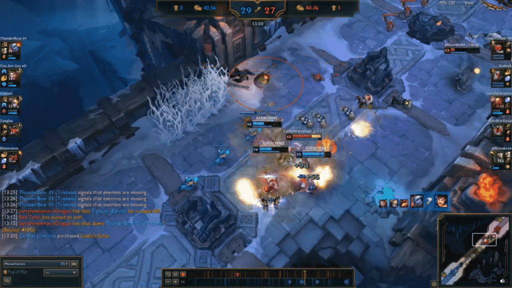 Gragas hitting 3 champions with his E