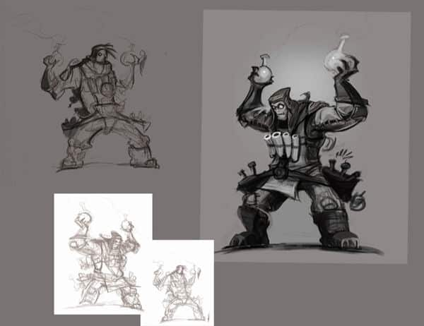 Old concept sketch for Ivan, The Mad Bomber   League of Legends facts