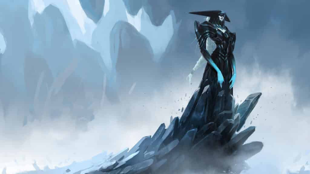 Lissandra fanart standing on top of an ice road